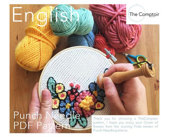 Flower crown Punch Needle PDF Pattern